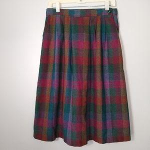 Vintage Women's Sz. S / M Pleated Plaid Midi Skirt